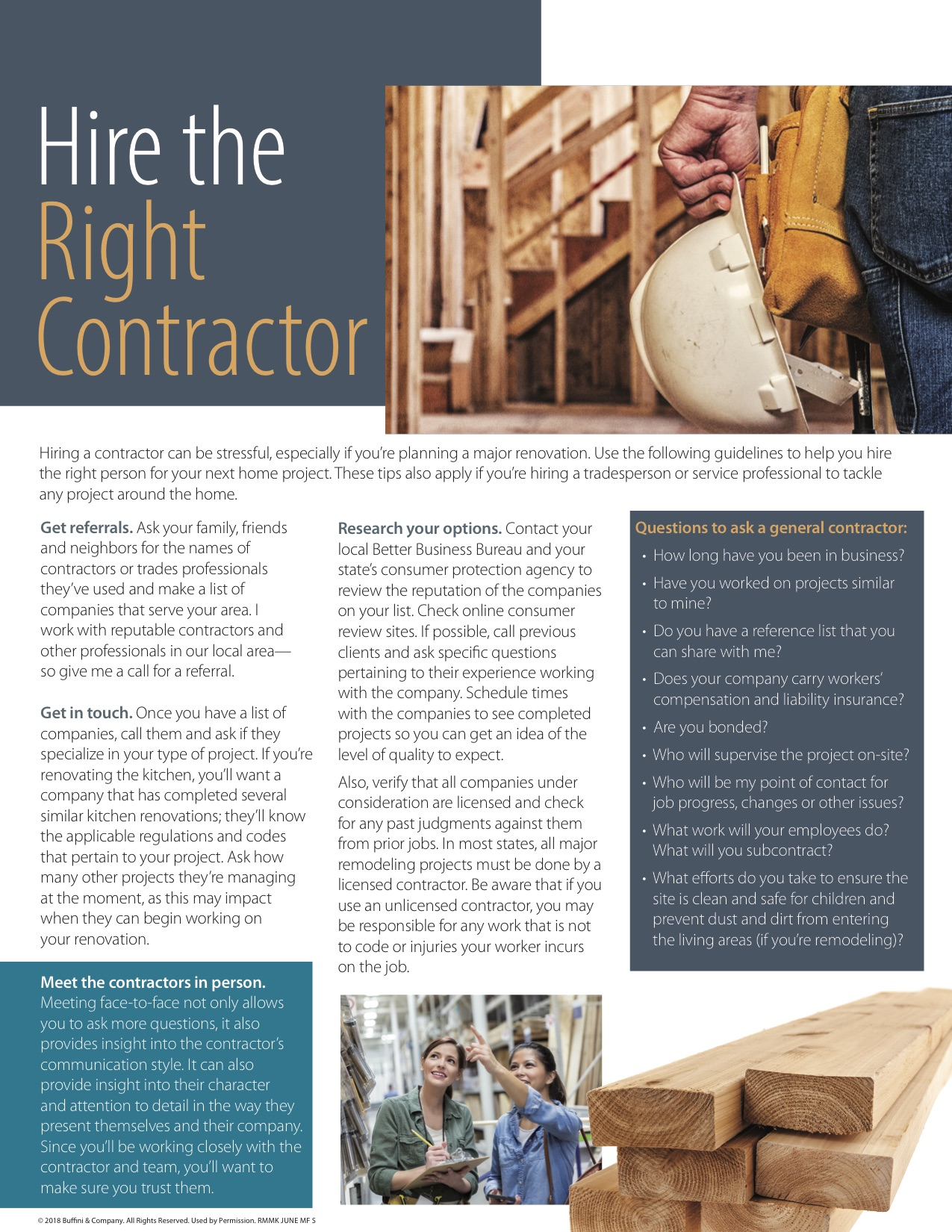 Hire The Right Contractor   BELCHER REAL ESTATE   FREDERICKSBURG AREA  REALTOR