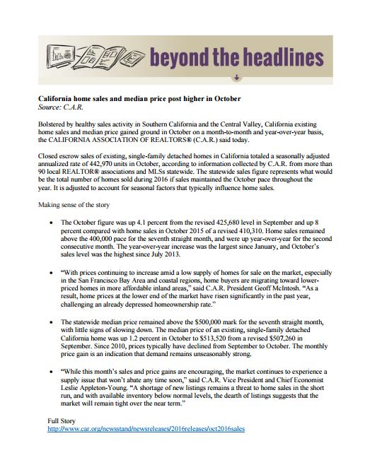 Beyond the Headlines – California Association of Realtors