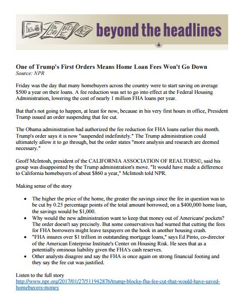 Beyond the Headlines – California Association of Realtors (2/2/16)
