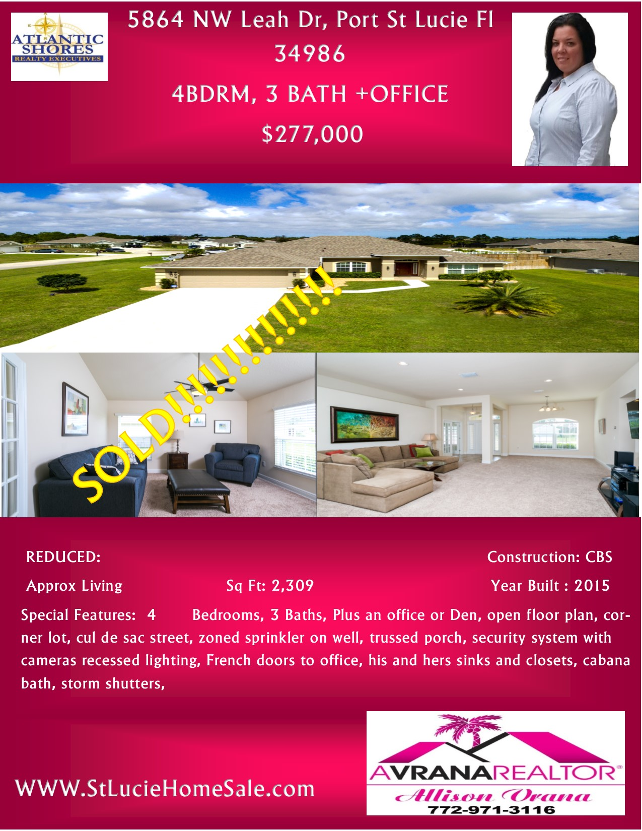 Sold Home, Great Price, Port St Lucie Florida Real Estate, 34986