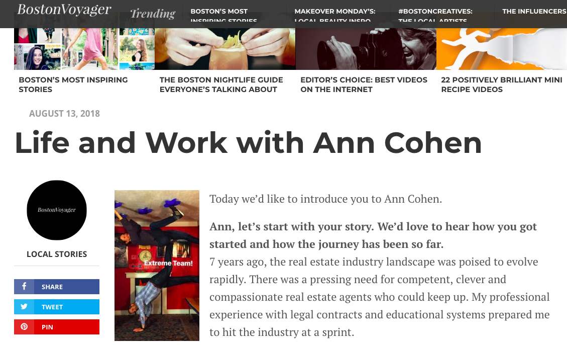 Boston Voyager Magazine Article: Life and Work with Ann Cohen