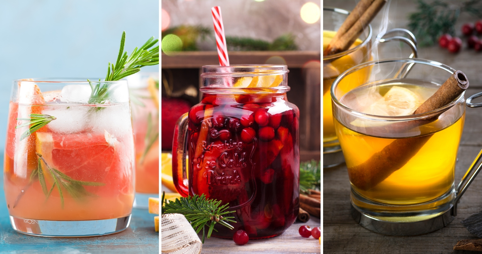 Grapefruit Cardamom Gin Fizz, Holiday Sangria, & Apple Toddy