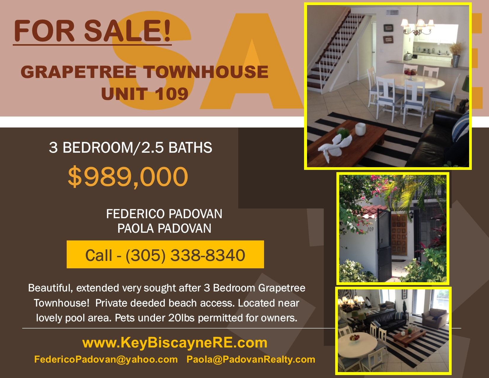NEW LISTING! GRAPETREE TOWNHOUSE UNIT 109