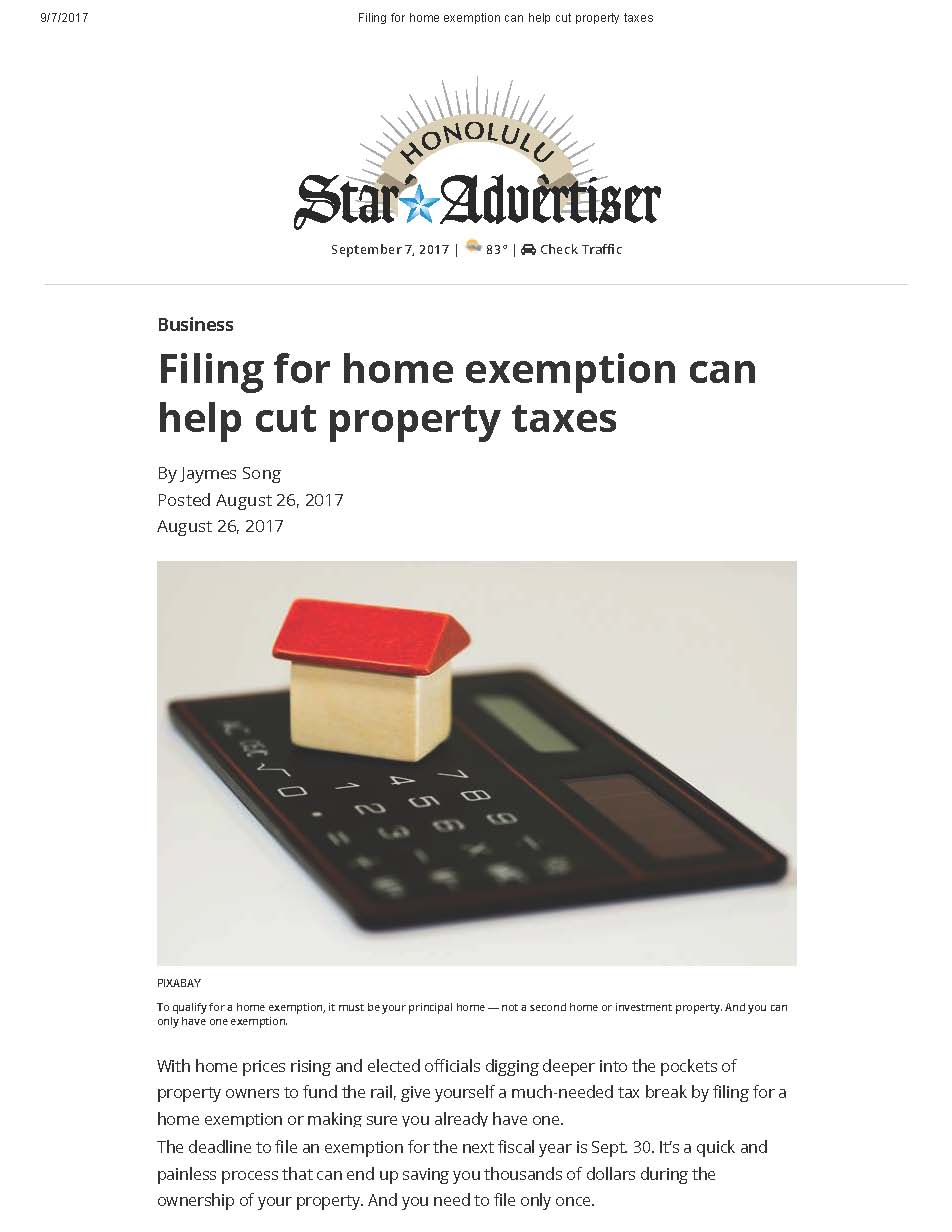 Filing for Home Exemption Can Help Cut Property Taxes - Honolulu Star Advertiser