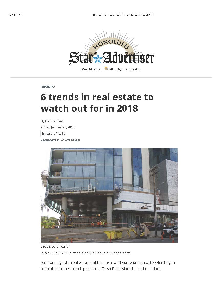 6 trends in real estate to watch out for in 2018 - Honolulu Star Advertiser