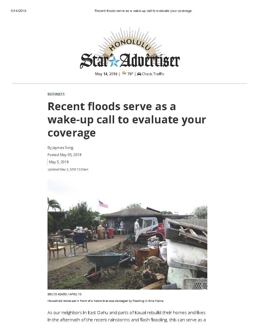 Recent Floods Serve as a Wake-Up Call to Evaluate Your Coverage - Honolulu Star Advertiser