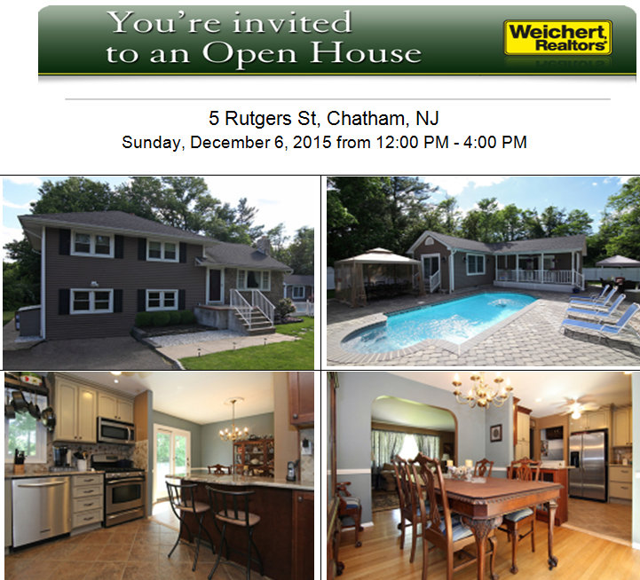 Open House Sunday, December 6, 2015 from 12-4:00 PM, 5 Rutgers St #ChathamNJ