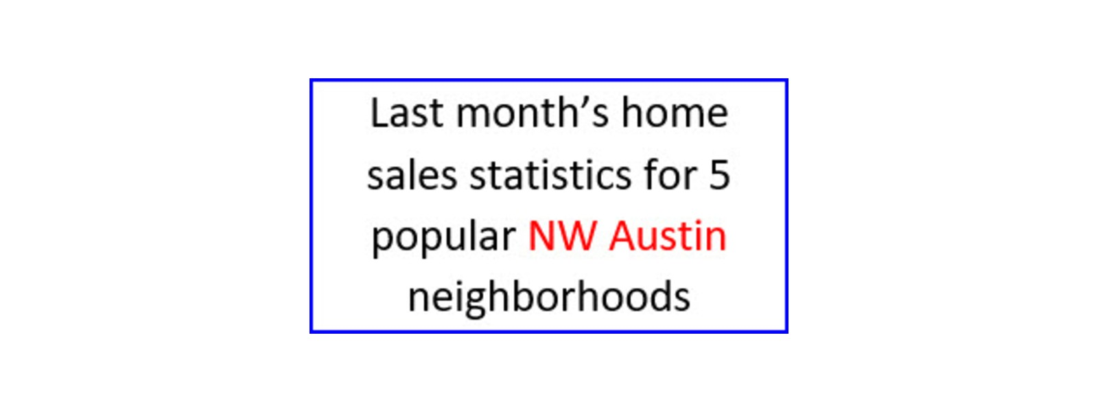 May home sales statistics for 5 popular NW Austin neighborhoods
