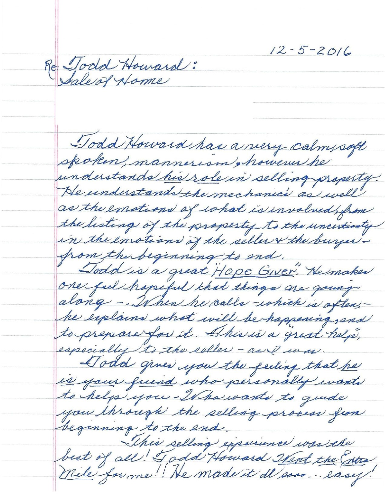Testimonial letter from Senior Client Regarding Sale of Home