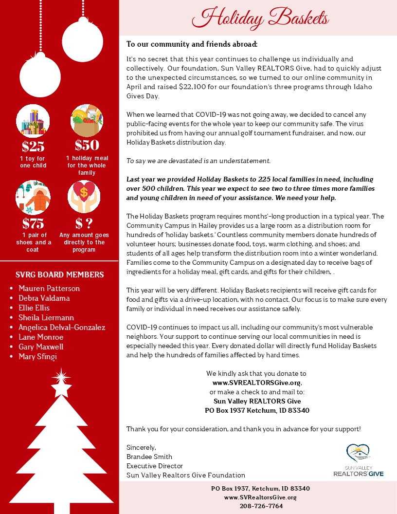 Holiday Baskets - Sun Valley Realtors Give