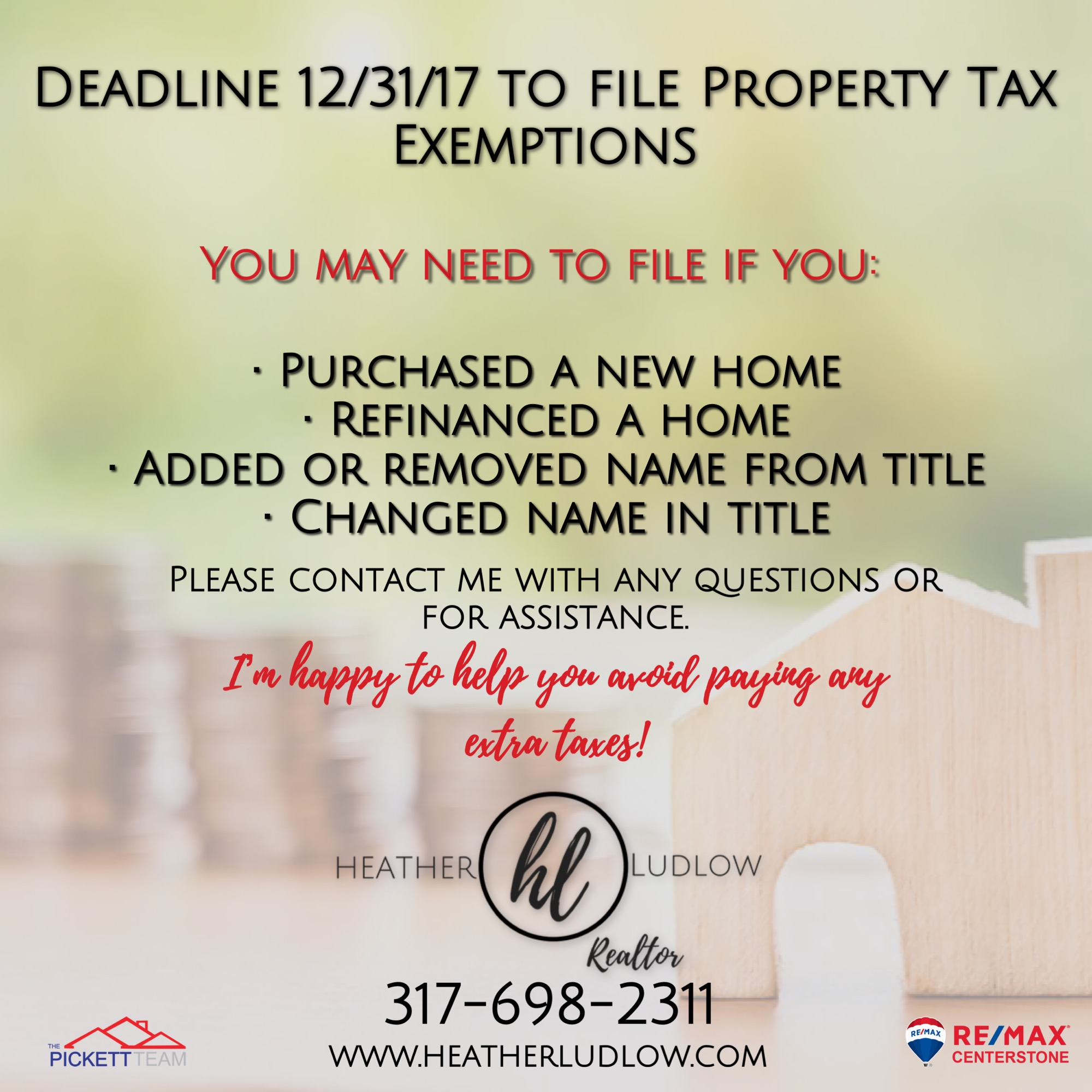 Don't forget to file your property tax exemptions!