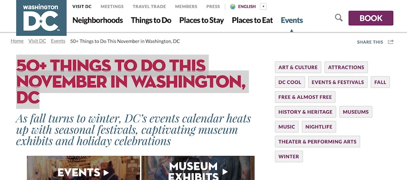 Events in DC Metro - November 2017