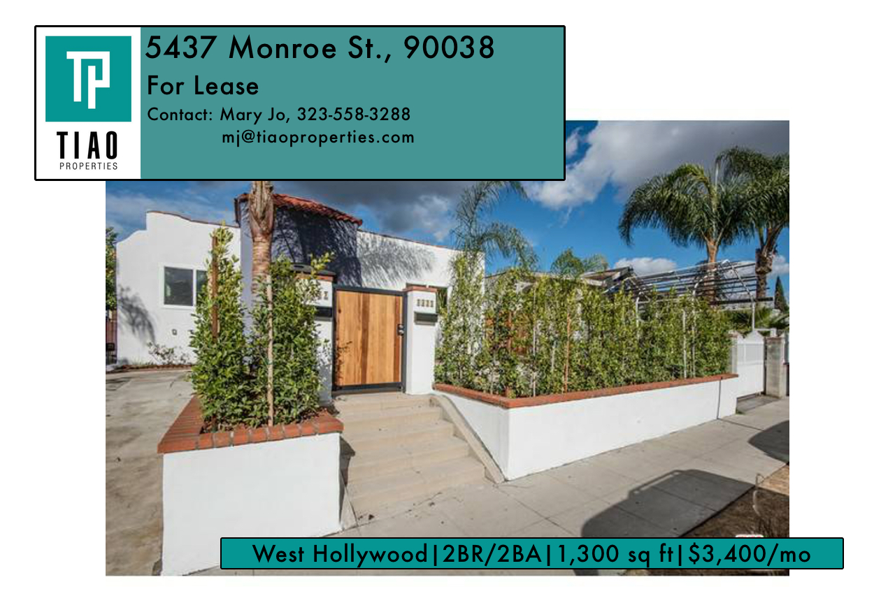 OPEN HOUSE! For Lease – 5437 Monroe St., 90038