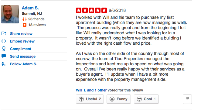 Another Satisfied Tiao Properties Customer — First-Time Apartment Building Owner Adam S!