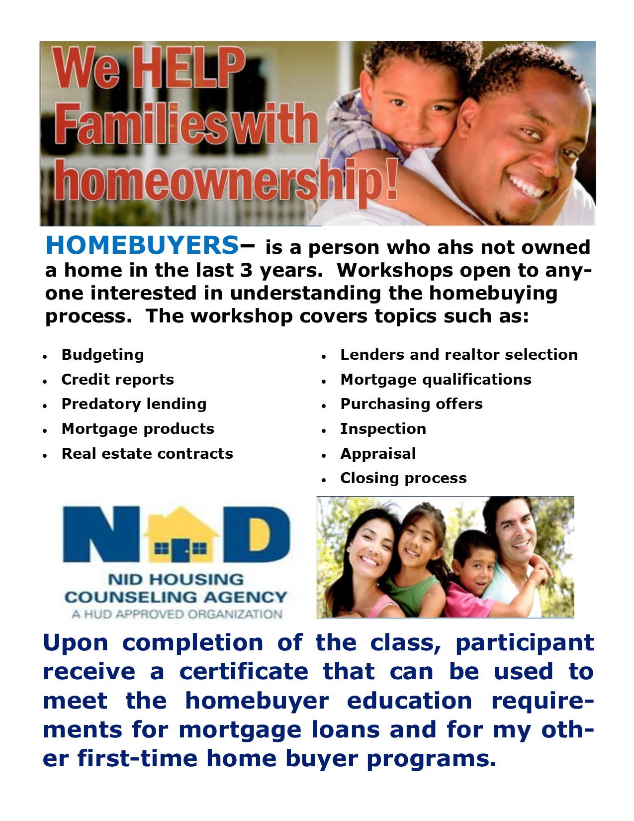 1st Time Home Buyer Education Workshop