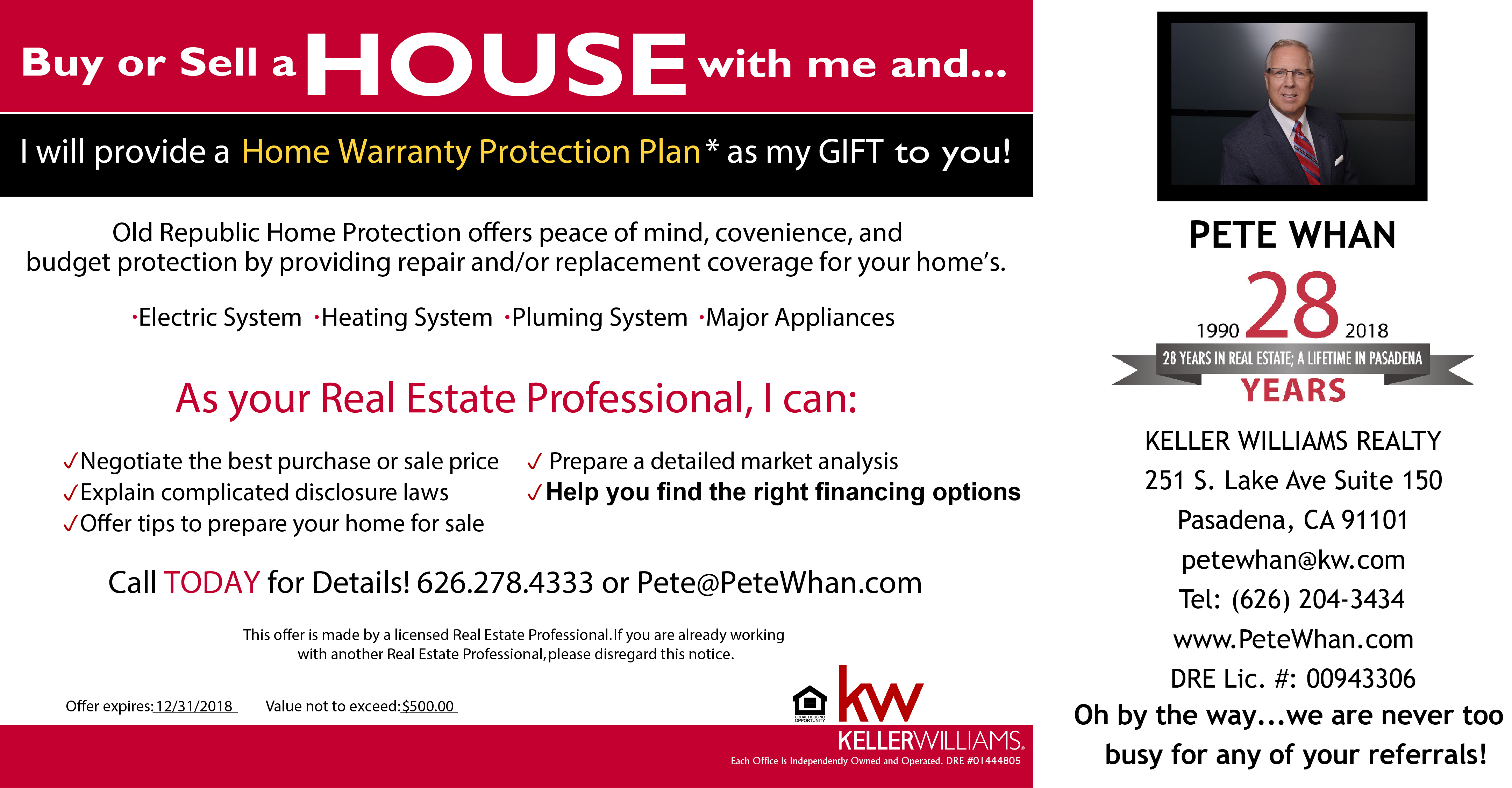Buy or Sell a Home with me and  I will provide the Home Warranty.
