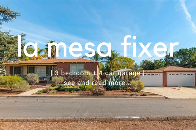 For Sale:  La Mesa fixer with a 4-car garage