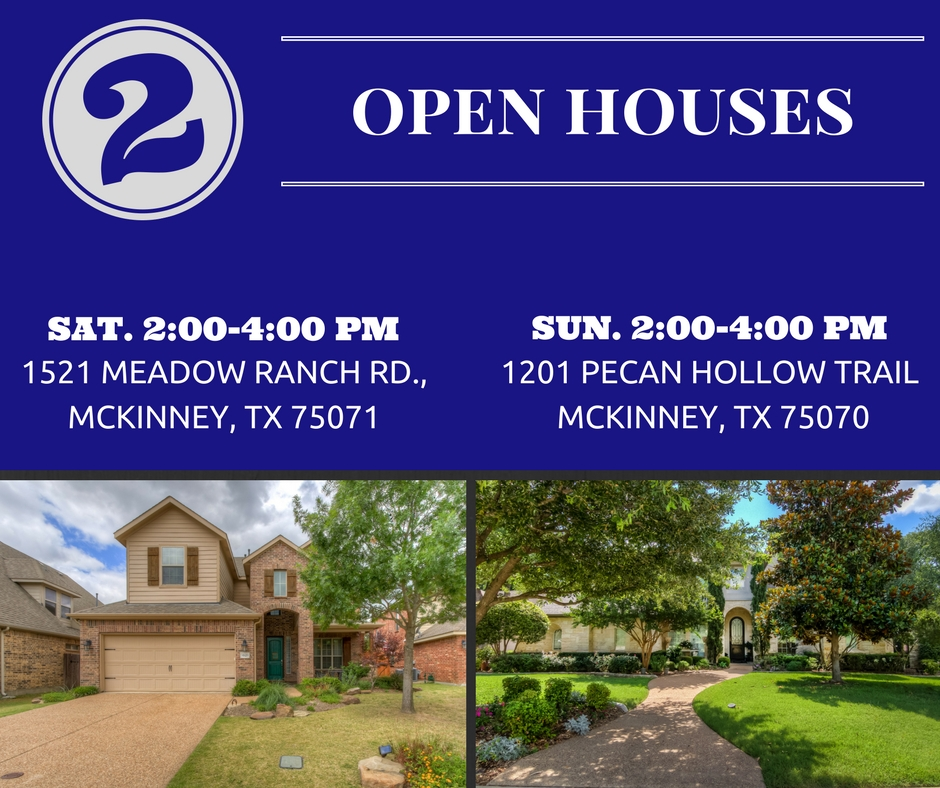 TWO Open houses This Weekend!!