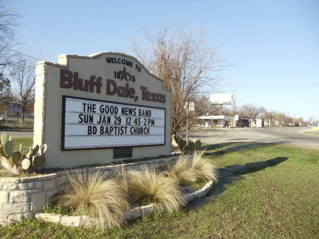 welcome to bluff dale sign