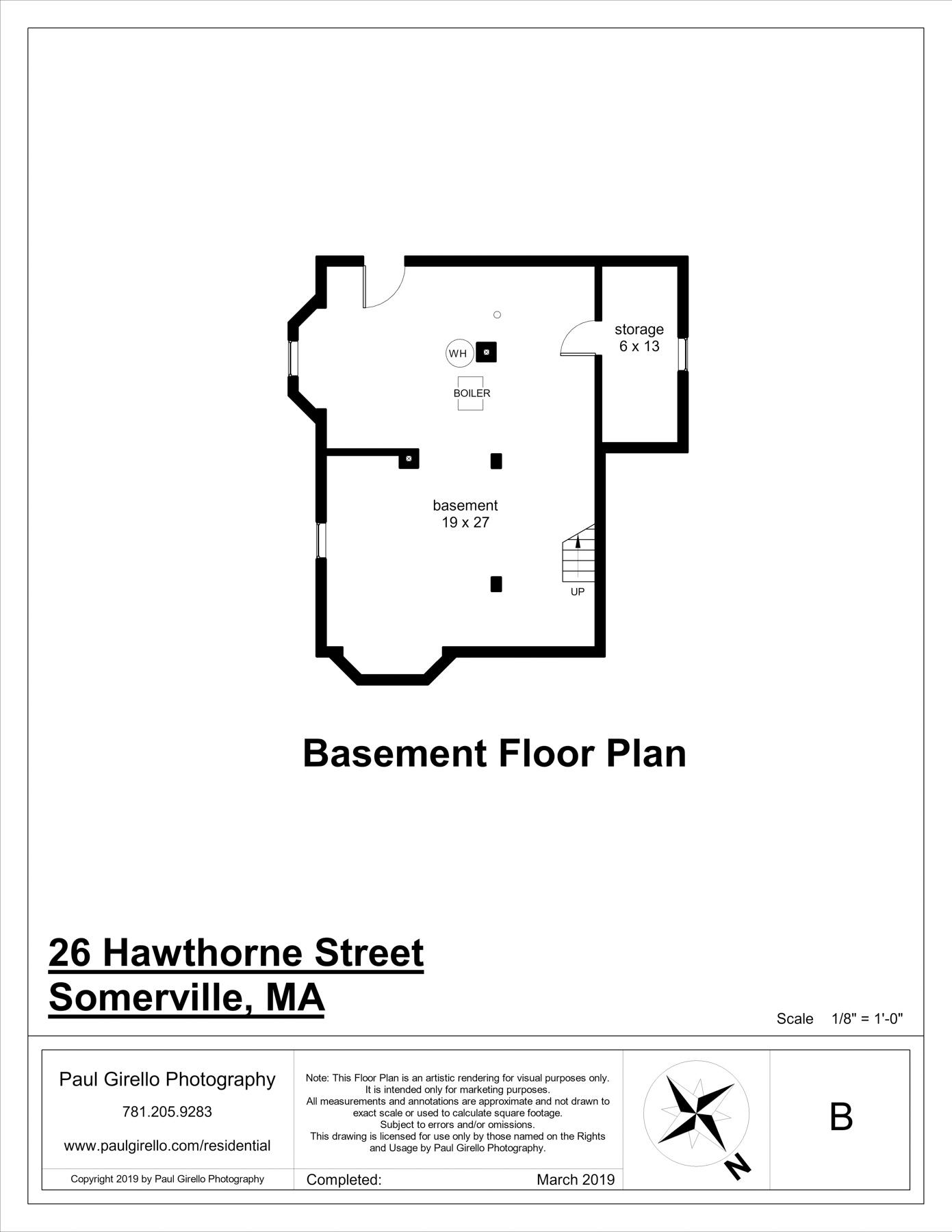 Basement Floor plan at 26 Hawthorne St in Somerville
