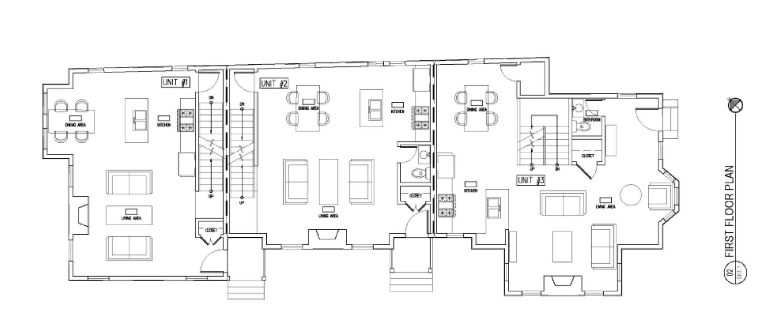 FIRST LEVEL FLOOR PLAN OF TOWNHOUSES FOR SALE AT 75 RUSH ST IN SOMERVILLE