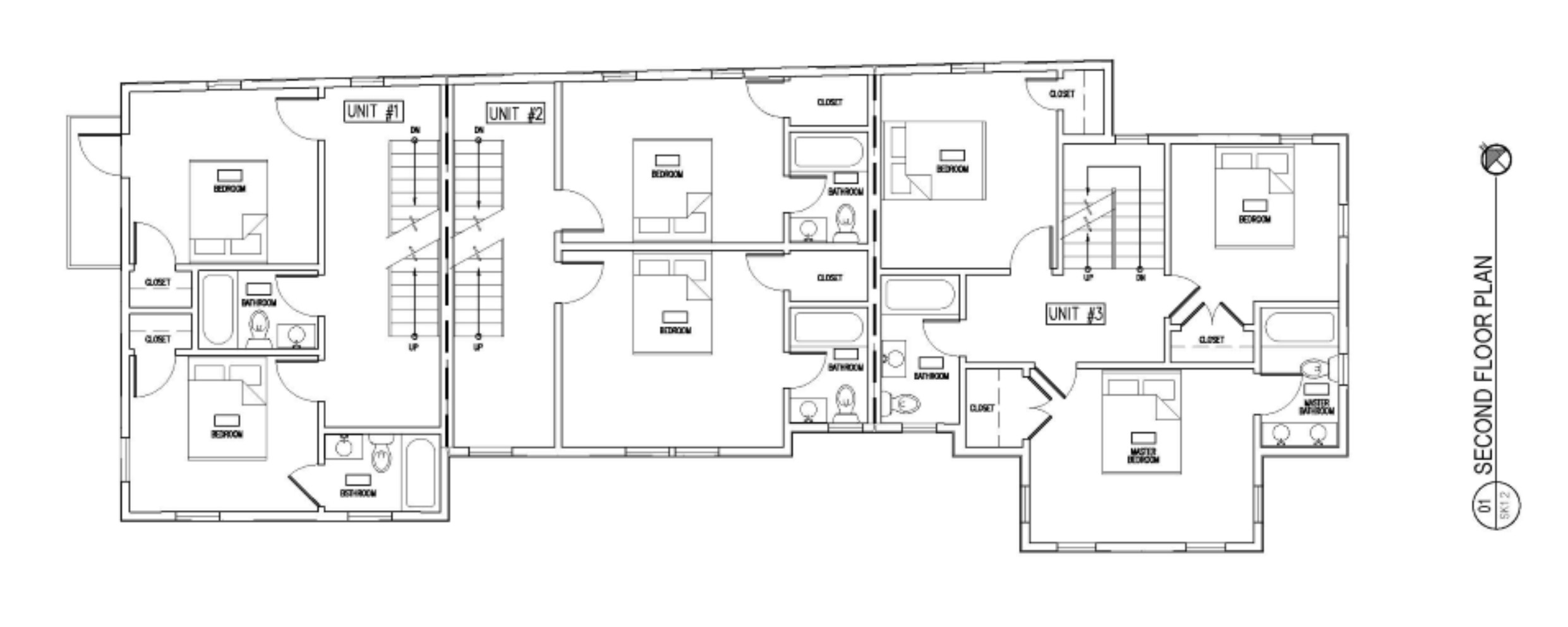 SECOND LEVEL FLOOR PLAN OF TOWNHOUSE AT 75 RUSH ST IN SOMERVILLE