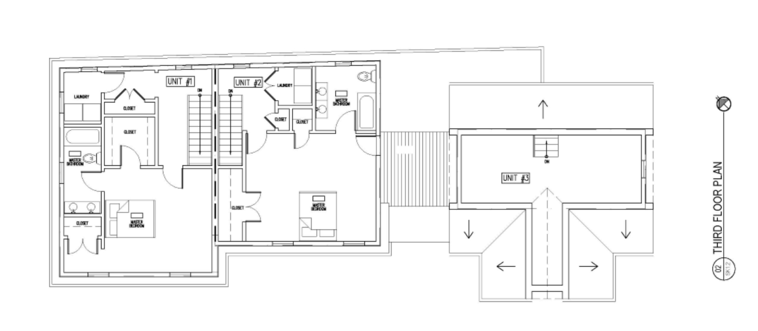 THIRD LEVEL FLOOR PLANS OF TOWNHOUSES AT 75 RUSH ST IN SOMERVILLE